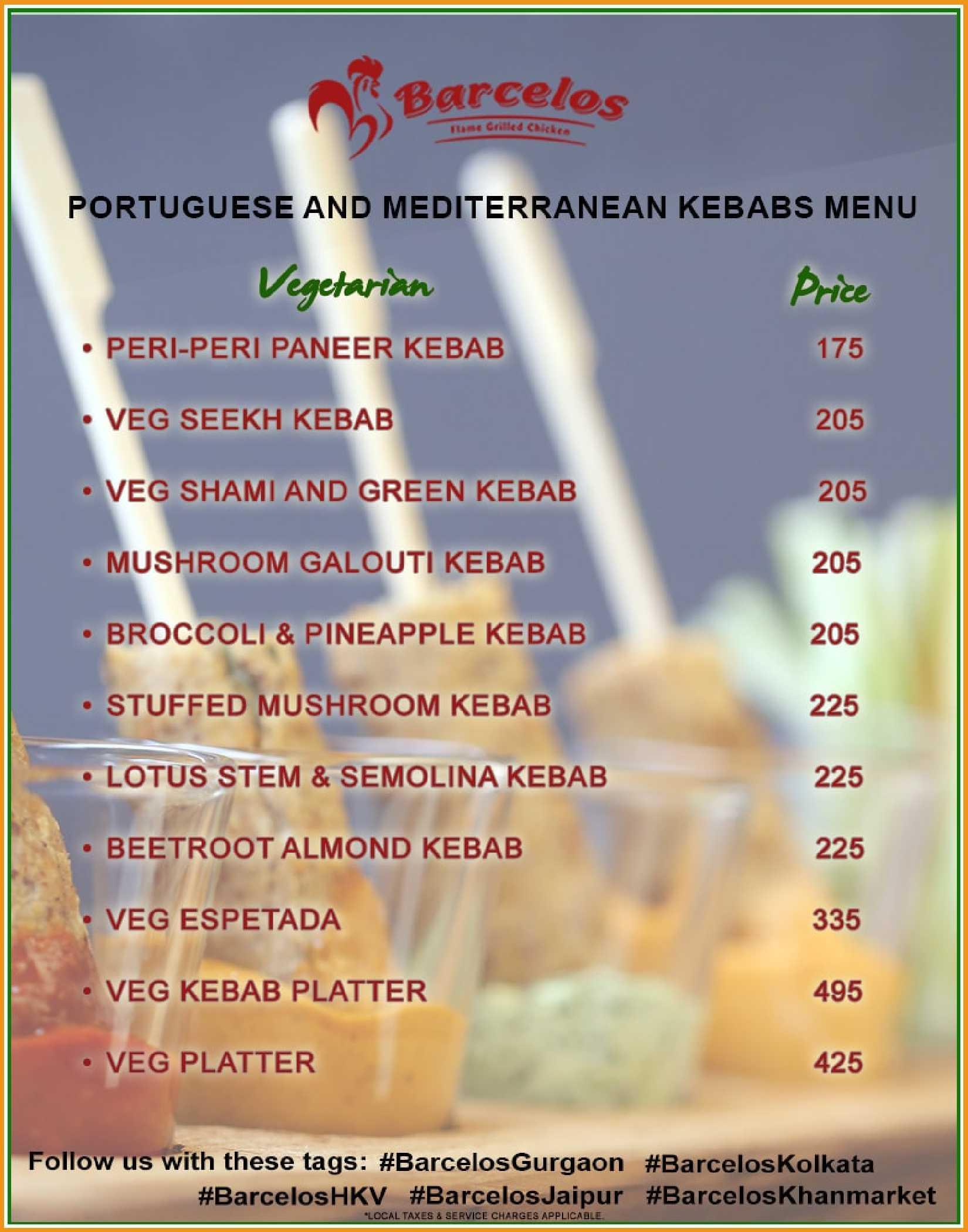 Barcelos HKV Veg Kebab Menu