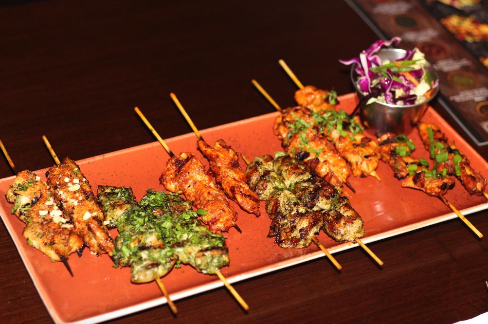 (L to R) : tSatay Chicken Kebab, Charmoula Chicken Kebab, Chipotle Chicken Kebab, Chimichurri Chicken Kebab, Peri Peri Chicken Kebab and Harissa Chicken Kebab