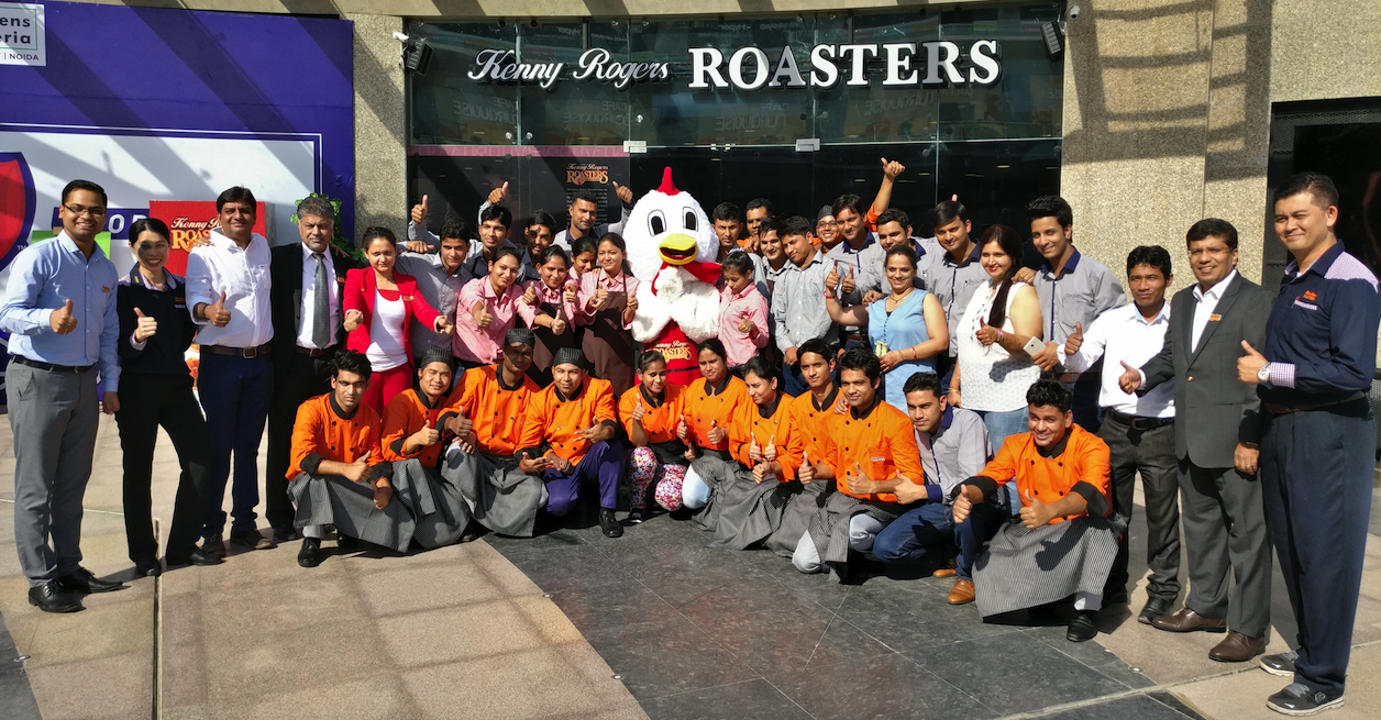 The Whole Team behind Kenny Rogers Roasters, Garden Galleria Mall, Noida.